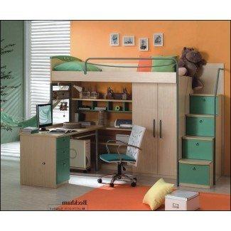 Cama alta de tamaño completo con escritorio y almacenamiento 0 |