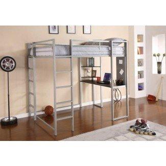 Cama alta de tamaño completo con escritorio de madera | Diseño para el hogar