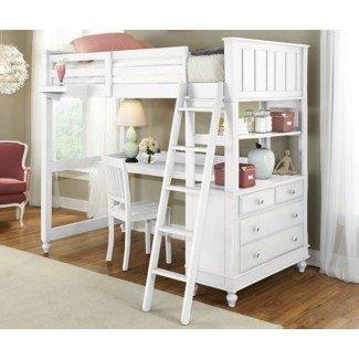Cama tipo loft con diseños y características de escritorio »InOutInterior