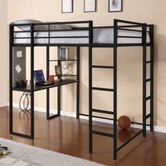 Modernas camas plegables de metal de tamaño completo para adultos con escritorio