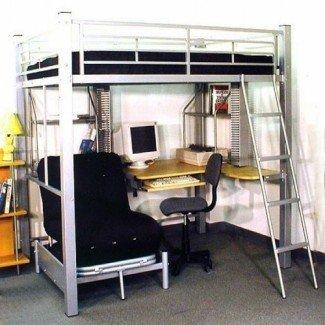 Cama alta tamaño loft con futón y escritorio | Cama