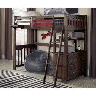 Cama alta de tamaño completo con escritorio para S - Whitevan