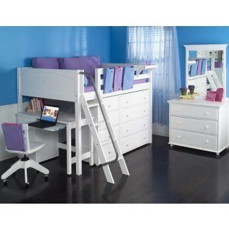 Full Size Study Loft Bed de Maxtrix Kids (blanco) (638)