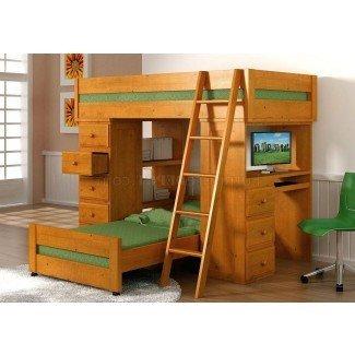 Cama alta tamaño loft con escritorio de metal. Dormitorio de tamaño completo