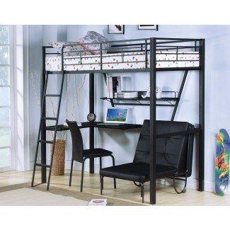 cama alta de tamaño completo con escritorio y silla futónHerpowerhustle ...