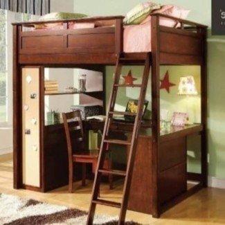 Cama alta tamaño loft con escritorio | Diseño de ideas de cama
