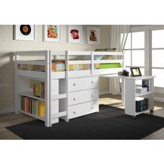 Cama alta tamaño loft con escritorio y armario pequeño de almacenamiento