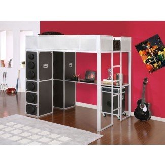 tamaño completo-loft-cama-con-escritorio-y-escaleras-bricolaje: Tamaño completo ...