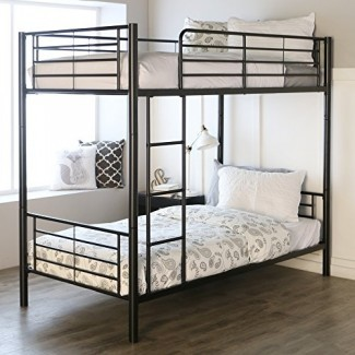 Litera metálica de dos camas individuales sobre acabado negro en acabado negro