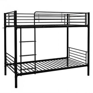 Cama litera de metal Bonnlo Estructura de cama de servicio pesado Twin Over Twin con rieles de protección de seguridad y escalera plana con cubierta de goma para niños adolescentes Adultos, negro