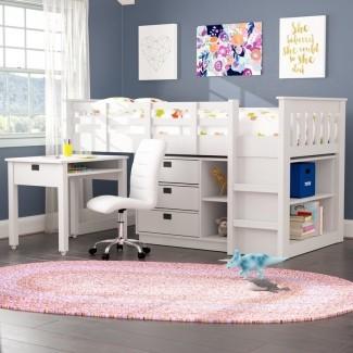 Angelica Twin Low Loft Bed con almacenamiento y estantería
