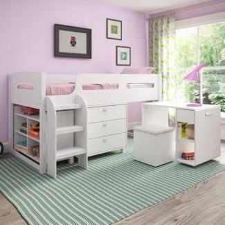 Angelica Twin Low Loft Bed con almacenamiento