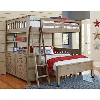 NE Kids Highlands - Cama alta tipo loft con escritorio en madera flotante