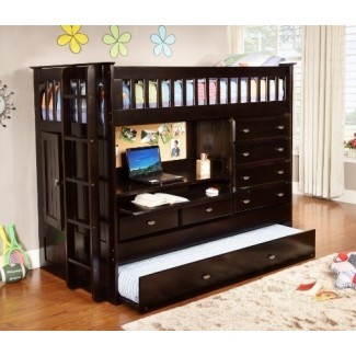 Discovery World Furniture Cama todo en uno tipo loft, Twin, Espresso