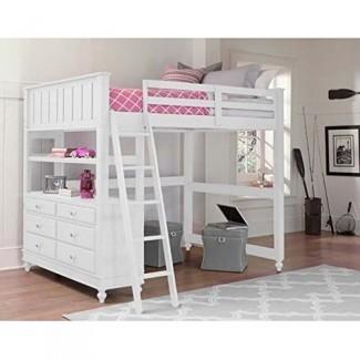 NE Kids Lake House - Cama alta tipo loft con escritorio en blanco