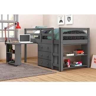 DONCO KIDS 760-TDG Cama baja con escritorio, doble, gris oscuro