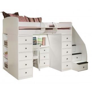 Dormitorio: cama tipo loft acogedor con escaleras para inspirar a junior ...