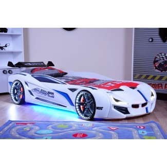 MVN1 Racer - Blanco | Camas de coche de carreras para niños