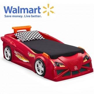 Hot Wheels Cama para auto de carrera para niños pequeños a gemelos, roja | Cama para niños