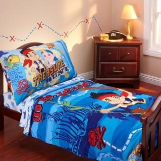 Jake y los piratas de Nunca Jamás Juego de cama para niños pequeños de 4 piezas