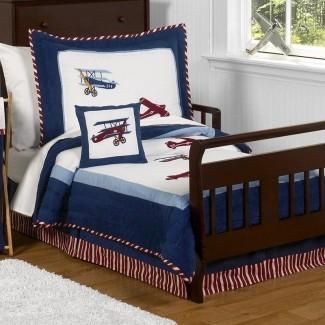 Juego de ropa de cama para niños pequeños Vintage Aviator de 5 piezas