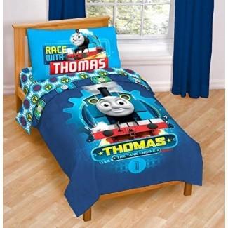 Juego de cama para niños pequeños de 4 piezas Nickelodeon Thomas & Friends The Tank Engine Race Friends - Juego de cama de microfibra súper suave Incluye juego de sábanas y edredón para niños pequeños (producto oficial de Nickelodeon)