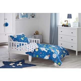 Bloomsbury Mill - Juego de edredón para niños pequeños de 4 piezas - Espacio exterior, cohete y planeta - Azul - Juego de cama para niños