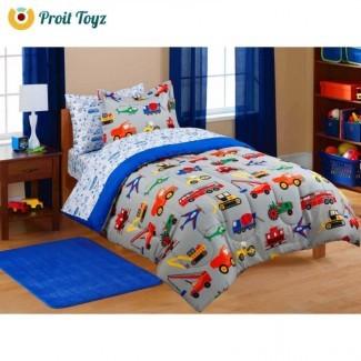 Juego de sábanas para niños Juego de sábanas de edredón Twin Boys en cama
