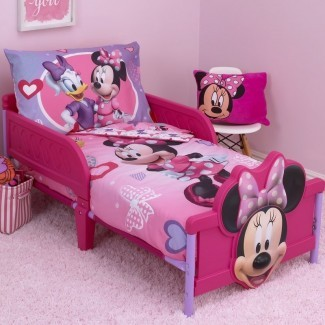 Minnie Mouse Hearts and Bows Juego de cama para niños de 4 piezas