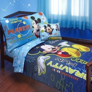Juego de cama para niños pequeños Mickey Mouse Space Adventures de 4 piezas