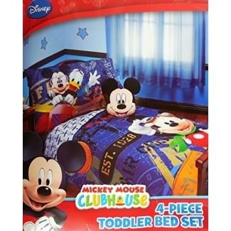"""Juego de ropa de cama para niños pequeños Mickey Mouse de 4 piezas """"con licencia original"""""""