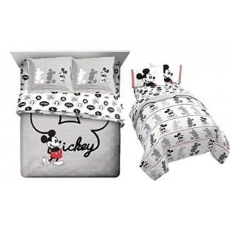 Juego de edredón Franco Mickey Mouse de 7 piezas de tamaño completo (edredón + 2 fundas de almohada + hoja de tamaño de 4 piezas)