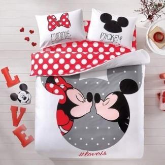 Juego de funda nórdica de cama de Mickey y Minnie Mouse 100% algodón Nuevo con licencia / Juego de funda nórdica de tamaño doble Mickey Mouse de Disney 4 PCS