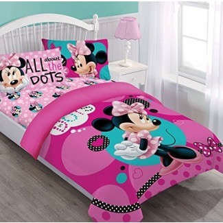 Juego de edredón gemelo Disney Minnie Dreaming in Dots con sábana ajustable
