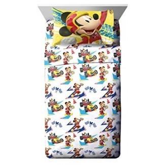Jay Franco Disney Junior Mickey Mouse y The Roadster Racers Juego de sábanas gemelas - Juego de 3 piezas Ropa de cama para niños súper suave - Sábanas de microfibra de poliéster resistente a la decoloración (Producto oficial Disney Junior)