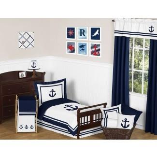 Juego de ropa de cama para niños pequeños de 5 piezas Anchors Away