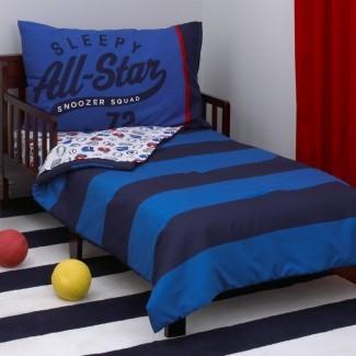 Juego de ropa de cama para niños pequeños All Star de 4 piezas