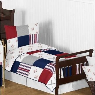 Juego de ropa de cama para niños pequeños de 5 piezas con parche de béisbol