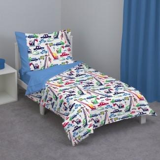 Jennings Cars y Construction Juego de cama para niños pequeños de 4 piezas