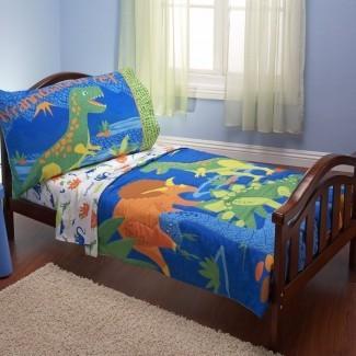 Dinosaurios Mishti Juego de cama para niños pequeños de 4 piezas