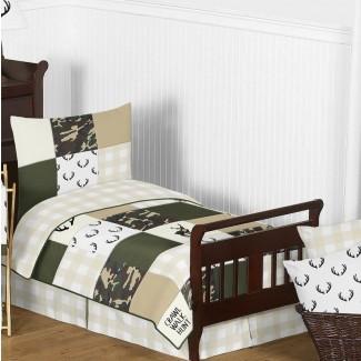Juego de ropa de cama para niños pequeños Woodland Camo de 5 piezas