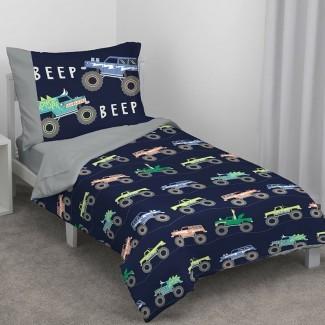 Juego de ropa de cama para niños pequeños Monster Truck de 4 piezas