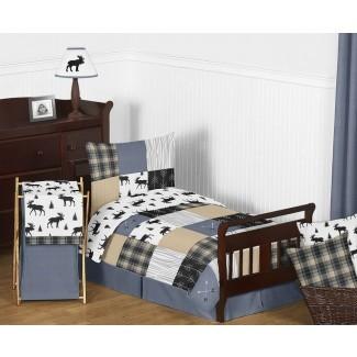 Juego de ropa de cama para niños pequeños de 5 piezas con parche rústico