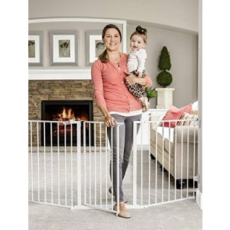 Puerta para bebé configurable súper ancha Regalo 76 pulgadas, 3 paneles, incluye soportes de pared y hardware