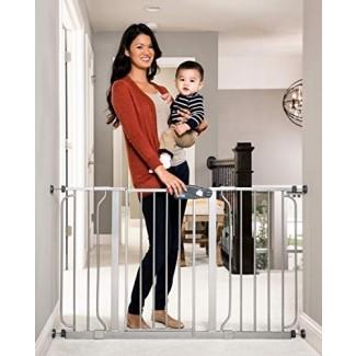 Puerta de bebé extra ancha de 49 pulgadas Regalo Easy Step, incluye kit de extensión de 4 y 12 pulgadas, 4 paquetes de kit de montaje a presión y 4 paquetes de kit de montaje en pared, platino