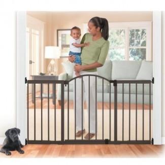 Puertas de seguridad para bebés con puerta para mascotas abatibles Niño alto extra ancho