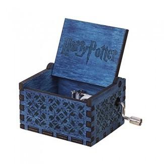 Harry Potter Music Box Manivela musical Caja de madera tallada, tocar The Thame Song of Harry Potter, azul