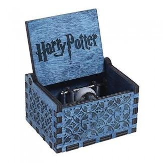 Mikolot Blue Harry Potter Caja de música Caja de música de madera grabada Manualidades Juguetes Regalo de Navidad