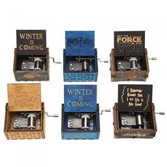 Caja de música de manivela manual Vktech 18 Note Caja de música de madera tallada antigua Decoración de adornos de regalos de cumpleaños