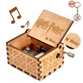 mrwinder Music Box para Hedwig Theme, Merchandise Vintage Classic Wood Hand Crank Tallado mejor regalo para niños, niños, niñas, amigos